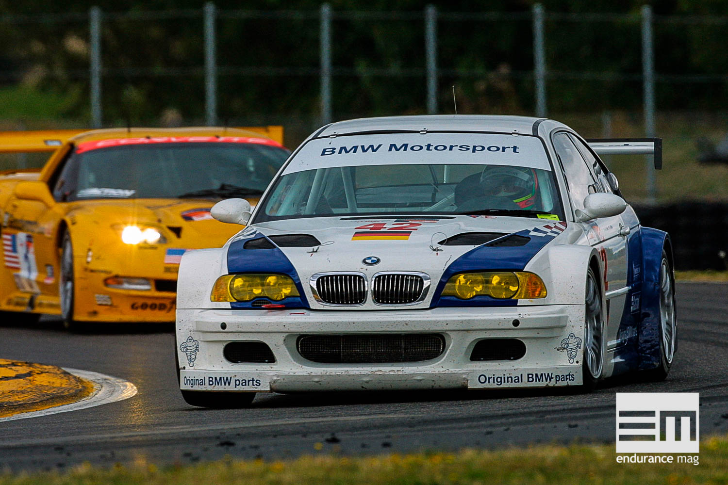 Jorg Muller (GER) in the BMW M3 GTR # 42 races in front during the ALMS race in Portland, Oregon, USA. Muller is teamed with J.J. Letho (FIN).