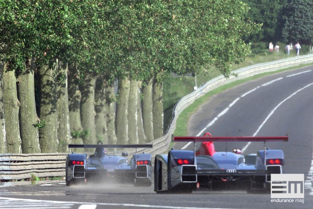 Un angle si mythique, ici avec les Audi R8, le Mans 2000 - photo Audi