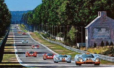 """Peinture """"Les Hunaudières"""" 24 Heures du Mans 1970 - source Carros e Pilotos"""